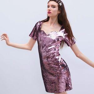 ZARA PINK SEQUIN MINI DRESS - NWT